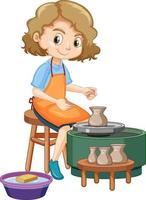 Cartoon character girl making pottery clay on white background vector