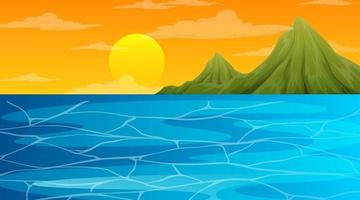 Landscape scene of ocean and the sun going drown vector
