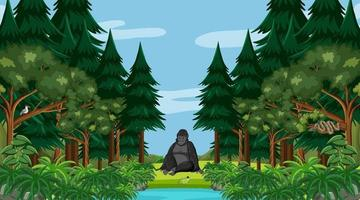 Rainforest or tropical forest at daytime scene with a gorilla vector
