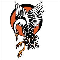 the stork flies with a red circle tattoo vector design