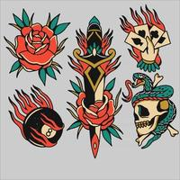 tattoo designs set collection vector ilustration