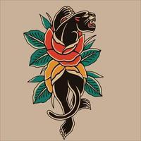 logo vector black panther with red flower rose ilustration design