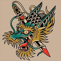 head of the dragon and sword ilustration design vector