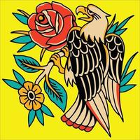 eagle and flower vector logo or tattoo
