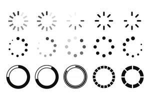 descargar conjunto de iconos. cargador de búfer de sitios web. un círculo giratorio para descargar información en el sitio web. vector