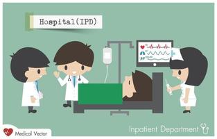 Inpatient department in Hospital. Staff, general practitioner and nurse plan to treat their patient. vector