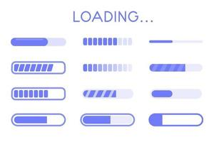 website buffer loading icon set. A bar showing the download status of information on the website. vector