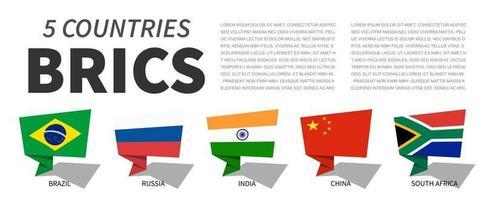 BRICS. Association of 5 countries. Speech bubbles design. vector