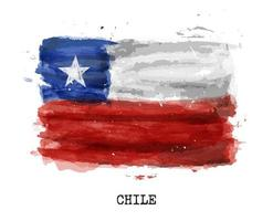 Realistic watercolor painting flag of Chile. Vector .