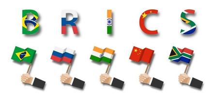 BRICS. Association of 5 countries. Brazil. Russia. India. China. South Africa. Businessman hand holds and wave flag pole on white isolated background. vector