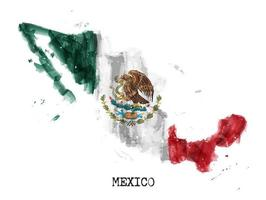 Mexico flag watercolor painting design and country map shape with splatter color. vector