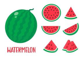 Watermelon vector. red fruit cut into pieces with seeds inside Refreshing food in the summer vector