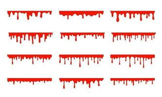 Spilled blood. A red sticky liquid that resembled blood dripping. Halloween crime concept. vector