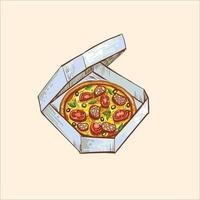 whole pizza slice wooden vector ilustration