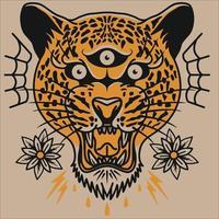 tiger head vector . cheetah head logo ilustration