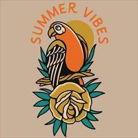 summer vibes parrot vector illustration