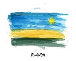 Realistic watercolor painting flag of Rwanda. vector
