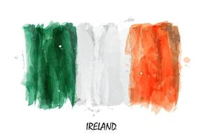 Realistic watercolor painting flag of Ireland. vector