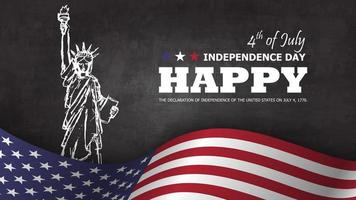 4th of July happy independence day of america background. Statue of liberty drawing design with text and waving american flag at lower on chalkboard texture. vector