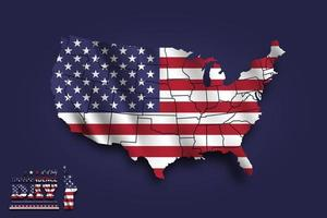 United states of america map and waving flag. 4th of July independence day concept. vector