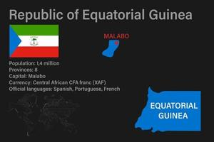 Highly detailed Equatorial Guinea map with flag, capital and small map of the world vector