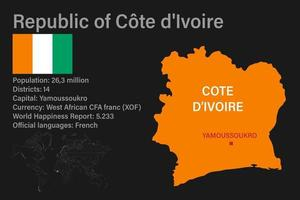 Highly detailed Cote d'Ivoire map with flag, capital and small map of the world vector