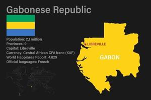 Highly detailed Gabon map with flag, capital and small map of the world vector