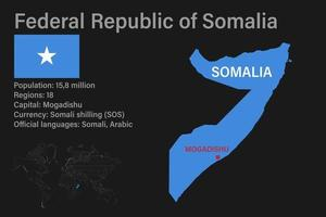 Highly detailed Somalia map with flag, capital and small map of the world vector