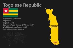 Highly detailed Togo map with flag, capital and small map of the world vector