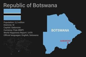 Highly detailed Botswana map with flag, capital and small map of the world vector