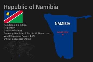 Highly detailed Namibia map with flag, capital and small map of the world vector