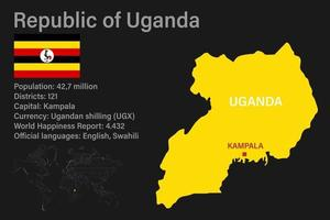 Highly detailed Uganda map with flag, capital and small map of the world vector