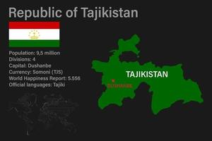Highly detailed Tajikistan map with flag, capital and small map of the world vector
