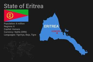 Highly detailed Eritrea map with flag, capital and small map of the world vector