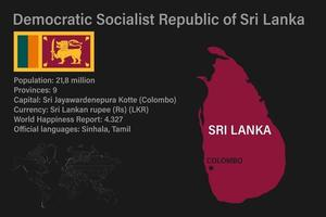 Highly detailed Sri Lanka map with flag, capital and small map of the world vector