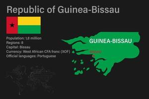 Highly detailed Guinea-Bissau map with flag, capital and small map of the world vector