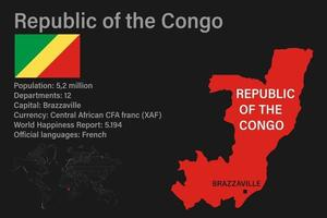 Highly detailed Republic of the Congo map with flag, capital and small map of the world vector