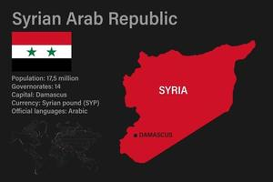 Highly detailed Syria map with flag, capital and small map of the world vector