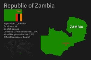 Highly detailed Zambia map with flag, capital and small map of the world vector