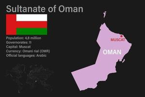 Highly detailed Sultanate of Oman map with flag, capital and small map of the world vector