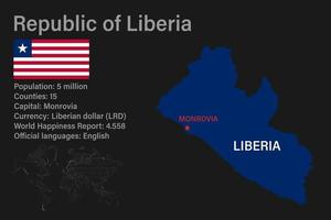 Highly detailed Liberia map with flag, capital and small map of the world vector