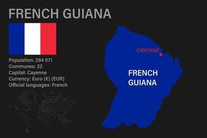 Highly detailed French Guiana map with flag, capital and small map of the world vector