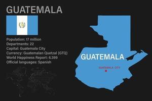 mapa de guatemala muy detallado con bandera, capital y pequeño mapa del mundo vector