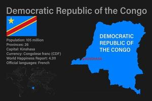 Highly detailed Democratic Republic of the Congo map with flag, capital and small map of the world vector