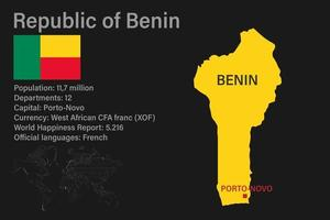 Highly detailed Benin map with flag, capital and small map of the world vector