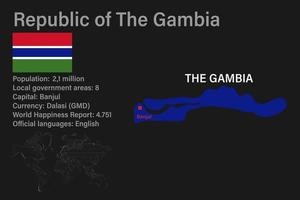 Highly detailed Gambia map with flag, capital and small map of the world vector