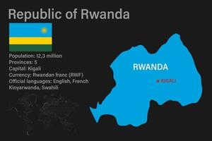 Highly detailed Rwanda map with flag, capital and small map of the world vector