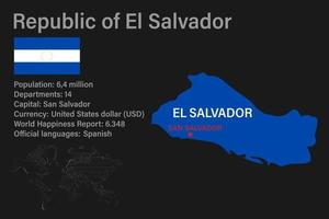 Highly detailed El Salvador map with flag, capital and small map of the world vector