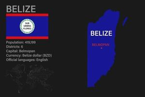 Highly detailed Belize map with flag, capital and small map of the world vector