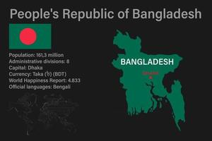 Highly detailed Bangladesh map with flag, capital and small map of the world vector